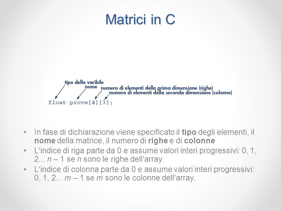 Matrici in C In fase di dichiarazione viene specificato il tipo degli elementi, il nome della matrice, il numero di righe e di colonne.