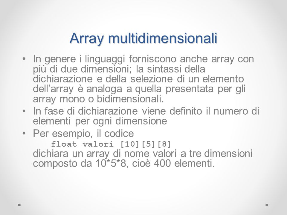 Array multidimensionali