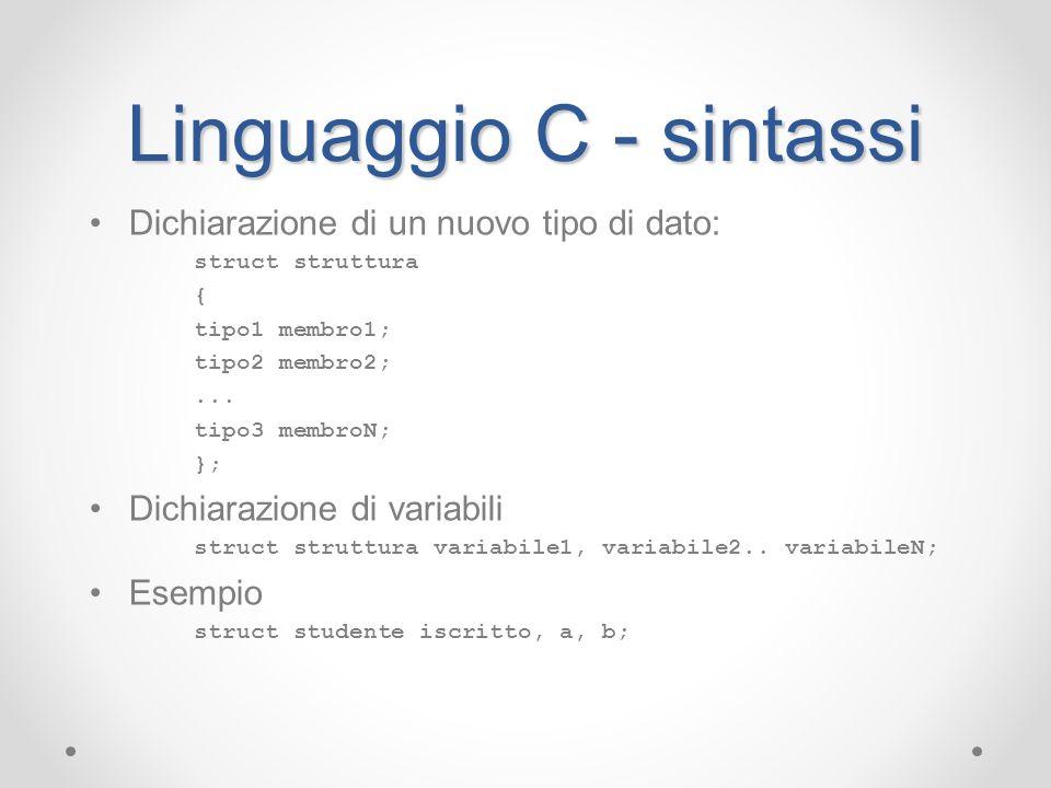 Linguaggio C - sintassi