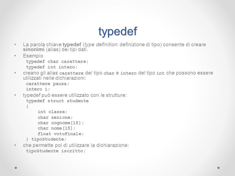 typedefLa parola chiave typedef (type definition: definizione di tipo) consente di creare sinonimi (alias) dei tipi dati.
