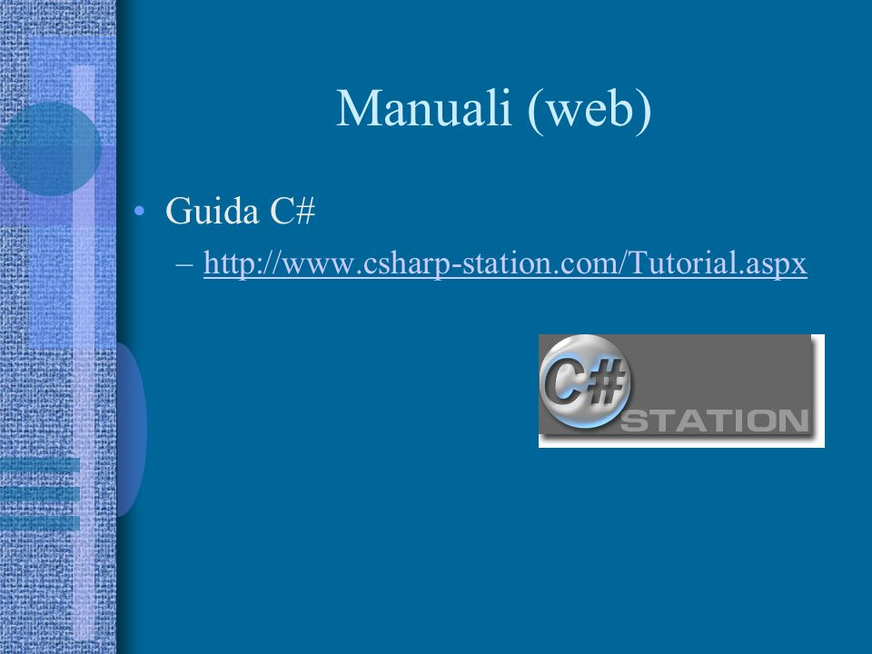 Manuali (web) Guida C# http://www.csharp-station.com/Tutorial.aspx