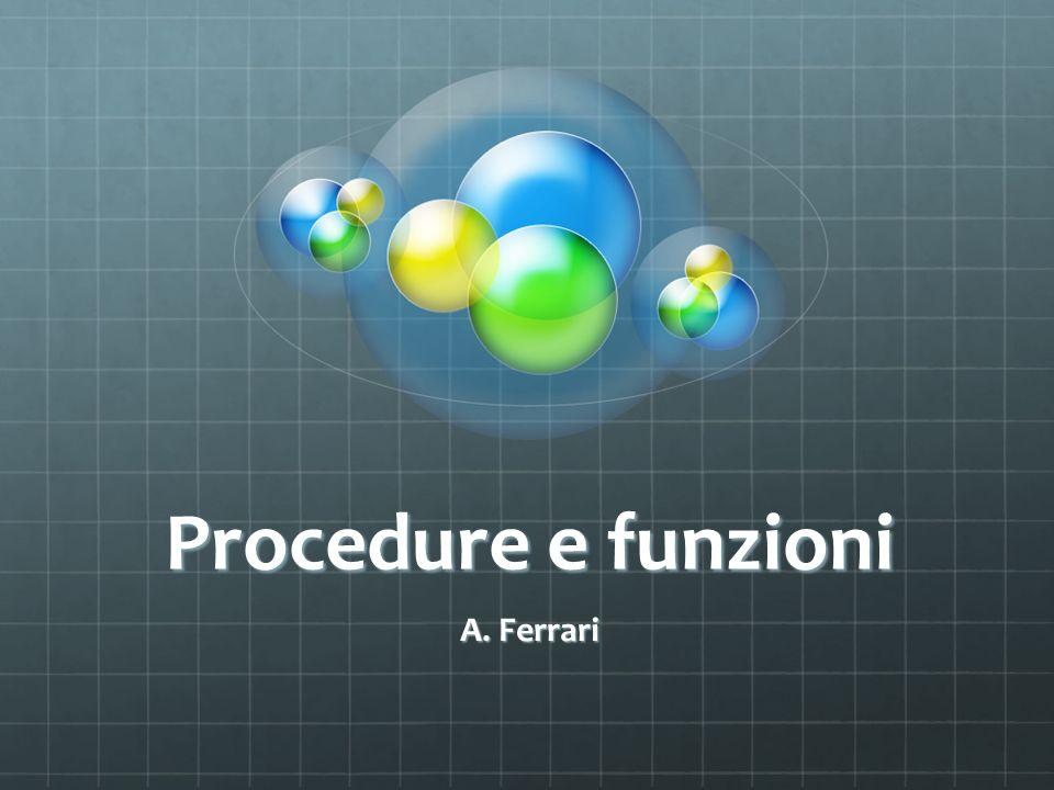 Procedure e funzioni A. Ferrari