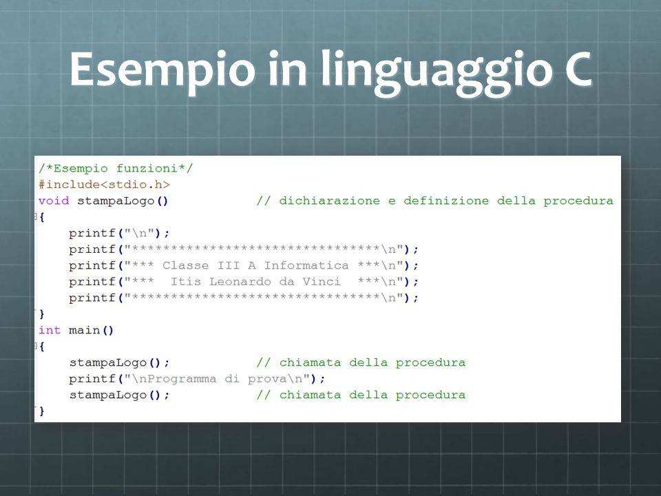 Esempio in linguaggio C