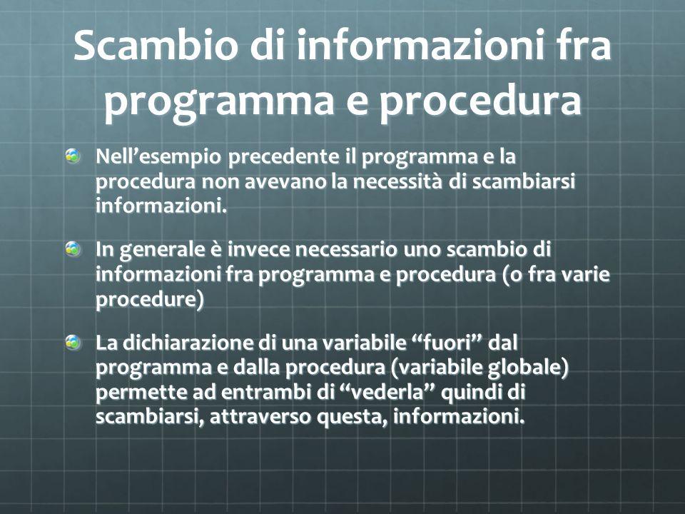 Scambio di informazioni fra programma e procedura