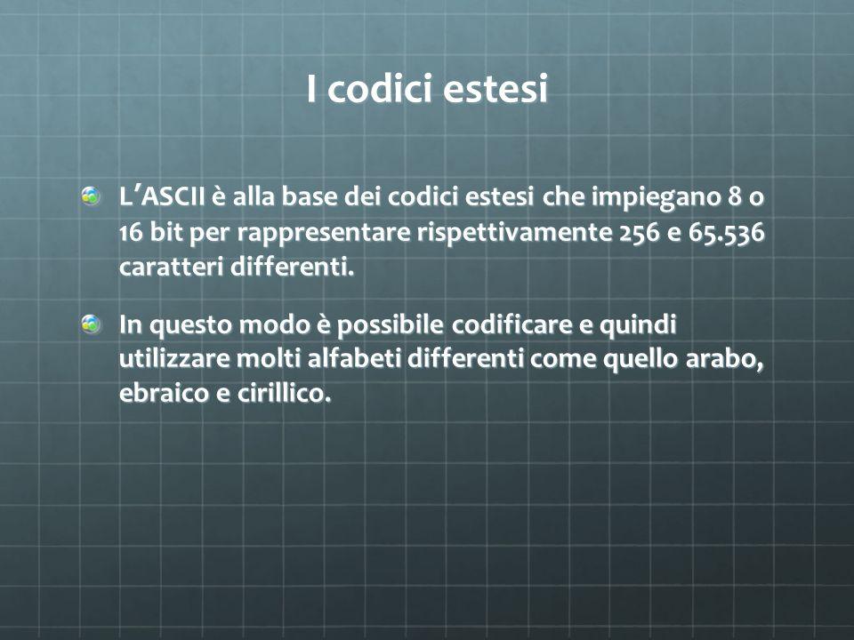 I codici estesi L'ASCII è alla base dei codici estesi che impiegano 8 o 16 bit per rappresentare rispettivamente 256 e 65.536 caratteri differenti.