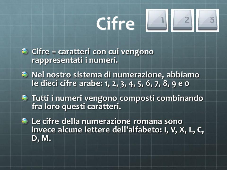 Cifre Cifre = caratteri con cui vengono rappresentati i numeri.