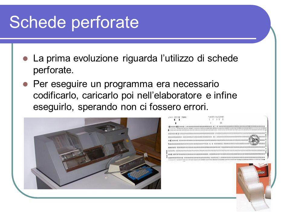 Schede perforate La prima evoluzione riguarda l'utilizzo di schede perforate.