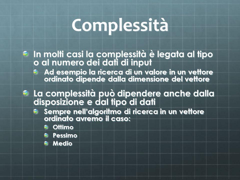 Complessità In molti casi la complessità è legata al tipo o al numero dei dati di input.