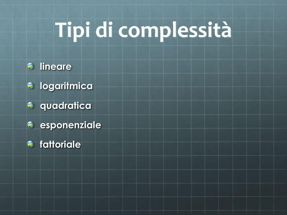 Tipi di complessità lineare logaritmica quadratica esponenziale