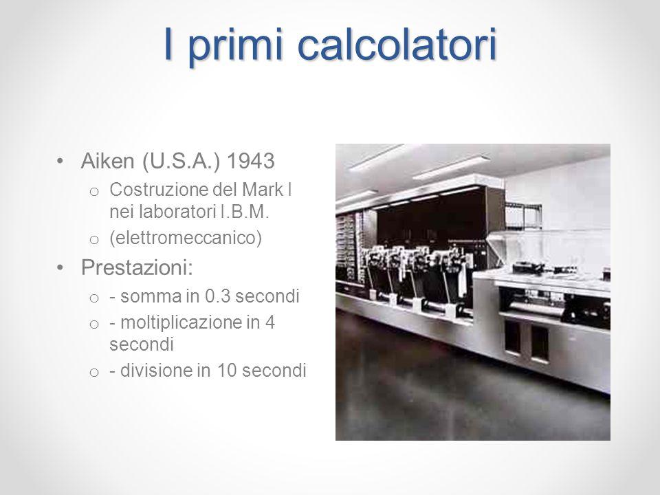 I primi calcolatori Aiken (U.S.A.) 1943 Prestazioni: