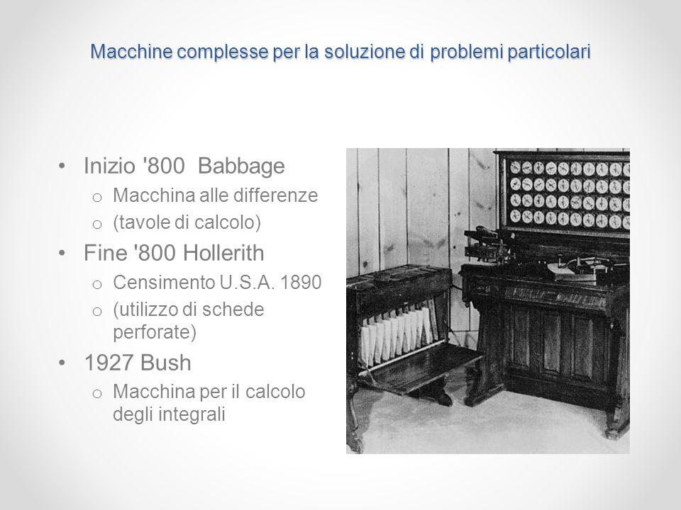 Macchine complesse per la soluzione di problemi particolari