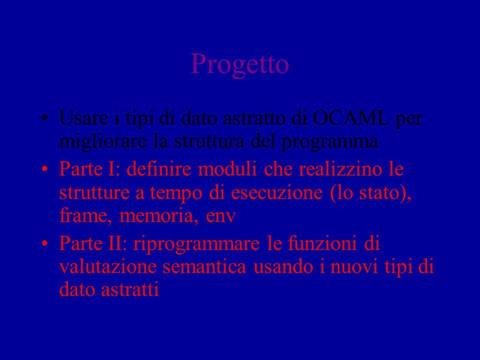 Progetto Usare i tipi di dato astratto di OCAML per migliorare la struttura del programma.