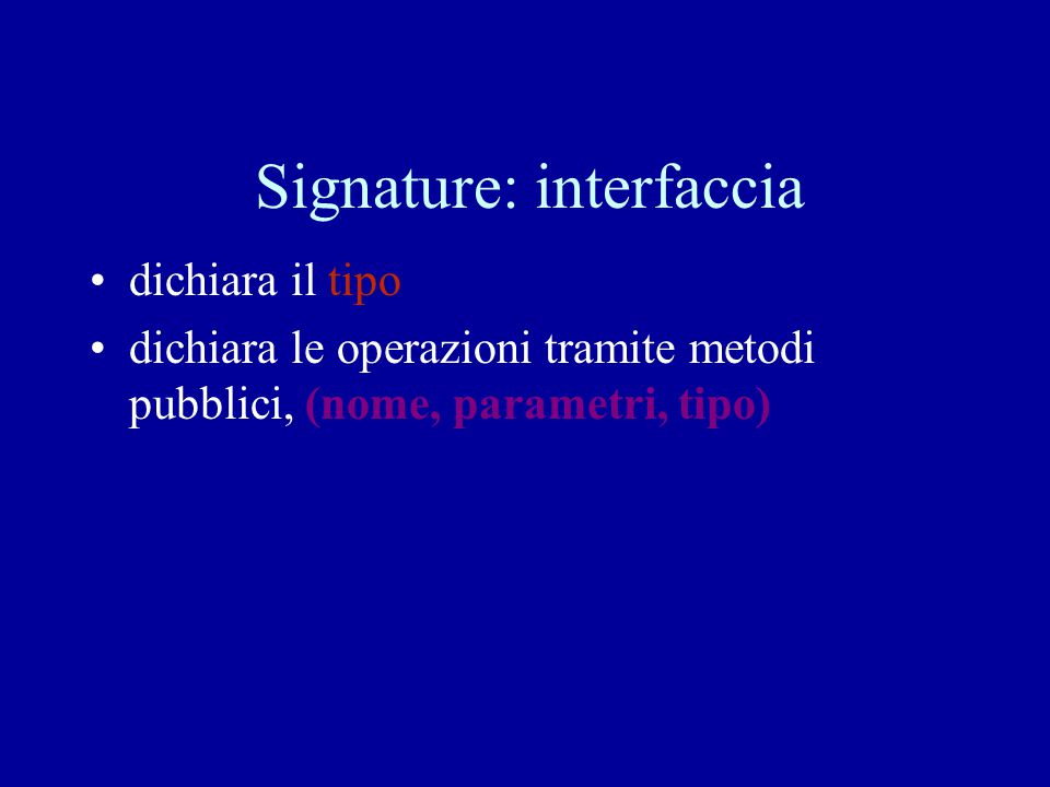 Signature: interfaccia