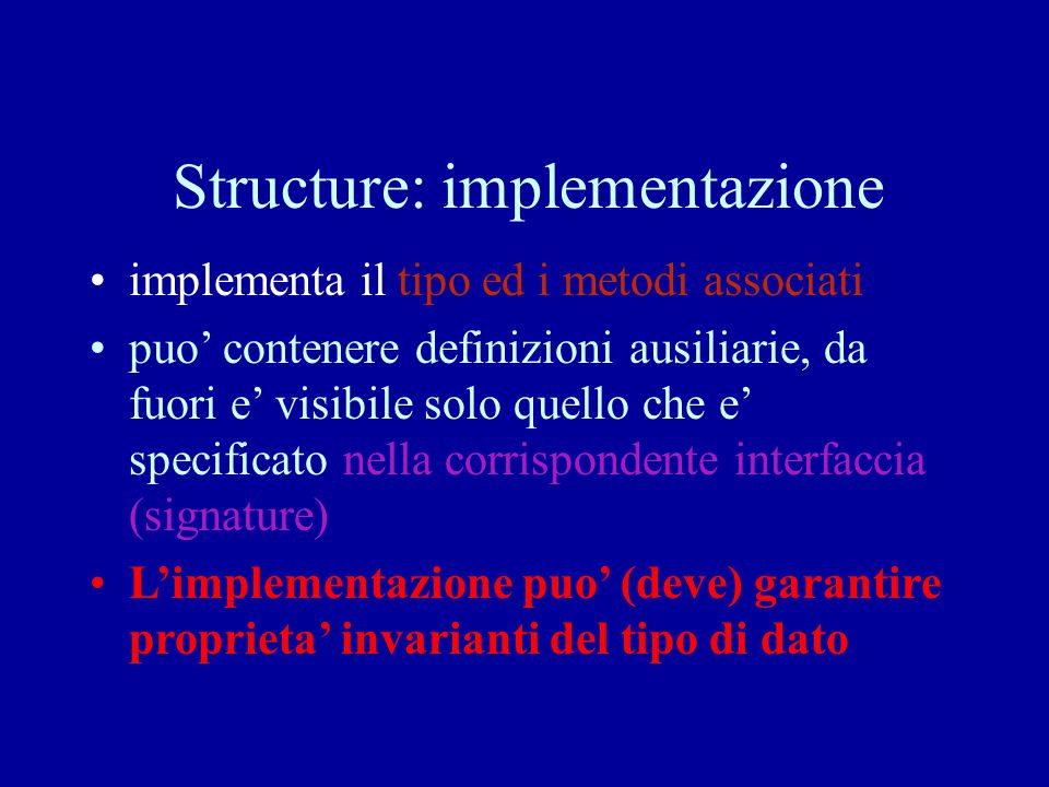 Structure: implementazione