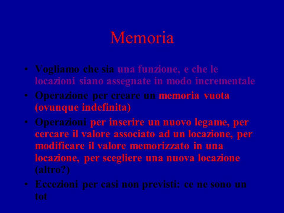 Memoria Vogliamo che sia una funzione, e che le locazioni siano assegnate in modo incrementale.