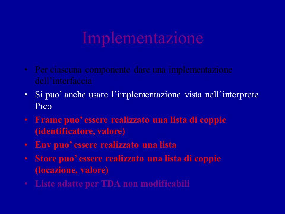Implementazione Per ciascuna componente dare una implementazione dell'interfaccia. Si puo' anche usare l'implementazione vista nell'interprete Pico.