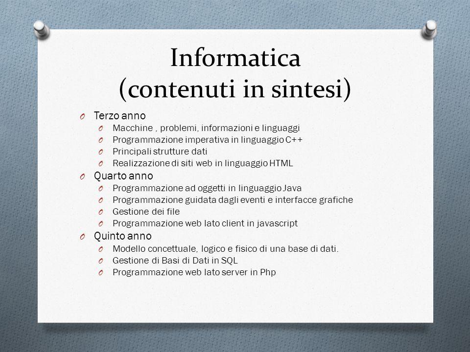 Informatica (contenuti in sintesi)