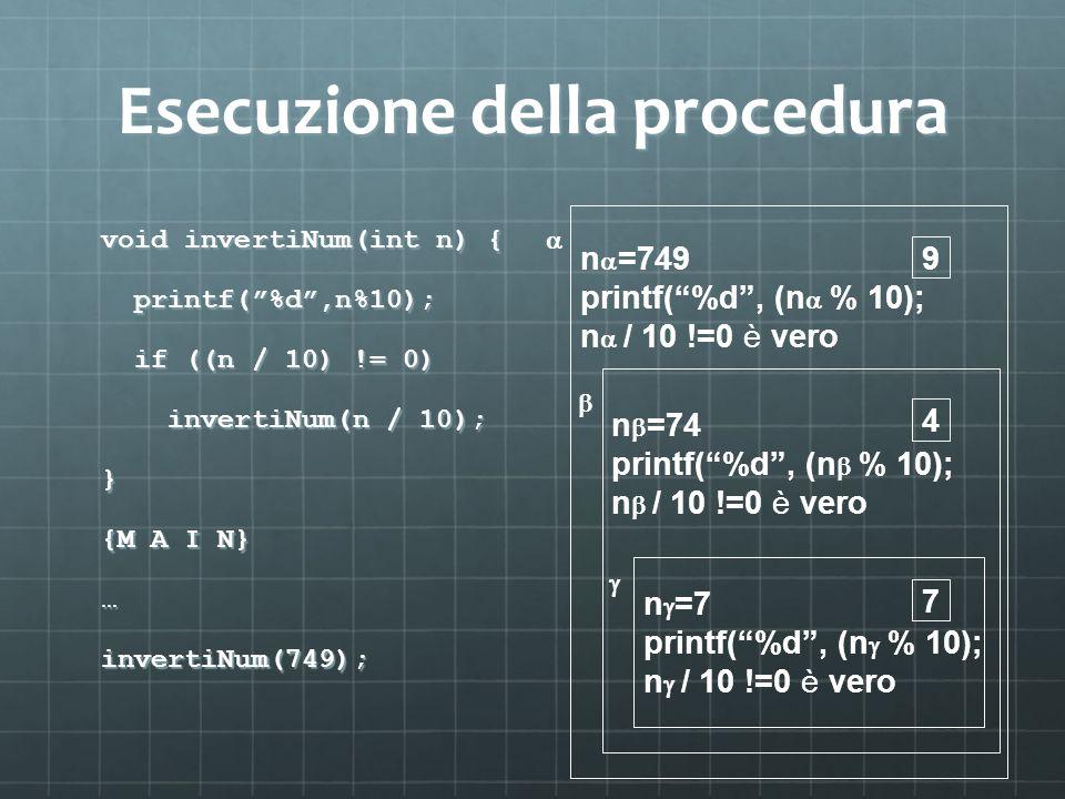 Esecuzione della procedura