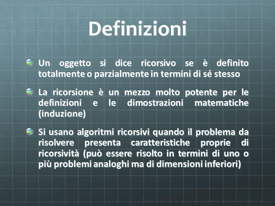 Definizioni Un oggetto si dice ricorsivo se è definito totalmente o parzialmente in termini di sé stesso.