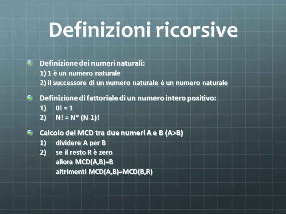 Definizioni ricorsive