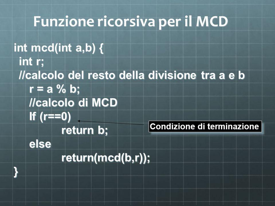 Funzione ricorsiva per il MCD