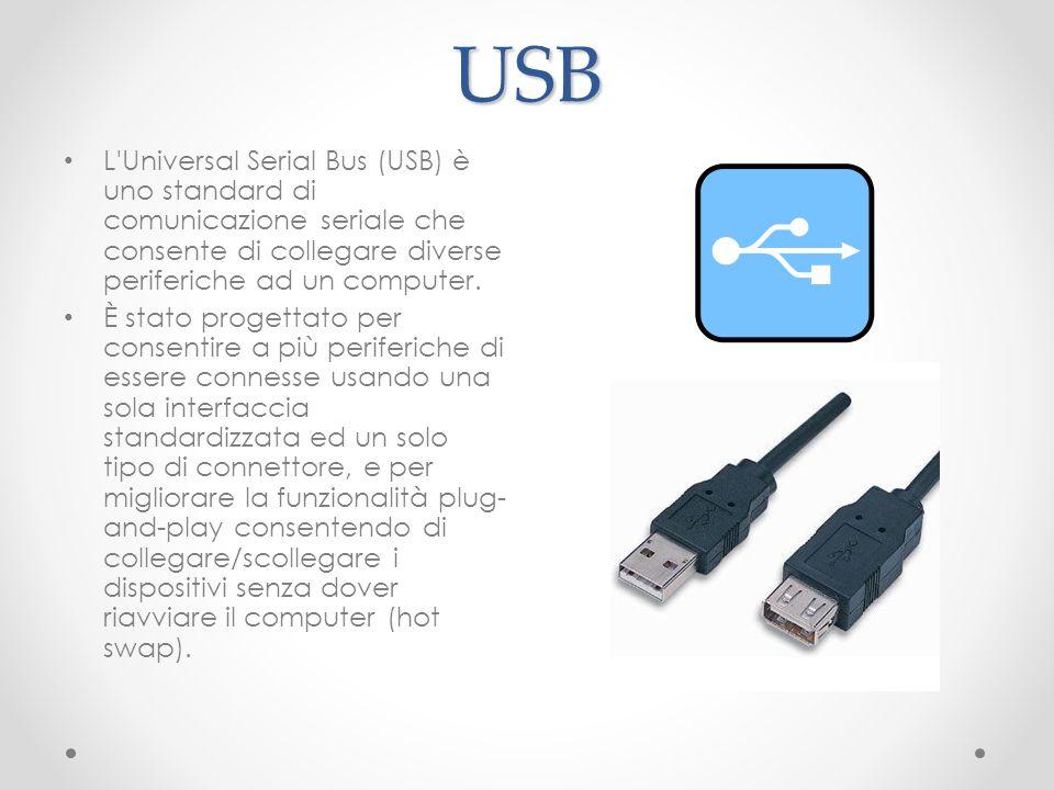 USB L Universal Serial Bus (USB) è uno standard di comunicazione seriale che consente di collegare diverse periferiche ad un computer.