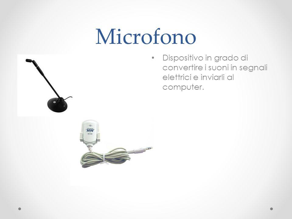 Microfono Dispositivo in grado di convertire i suoni in segnali elettrici e inviarli al computer.