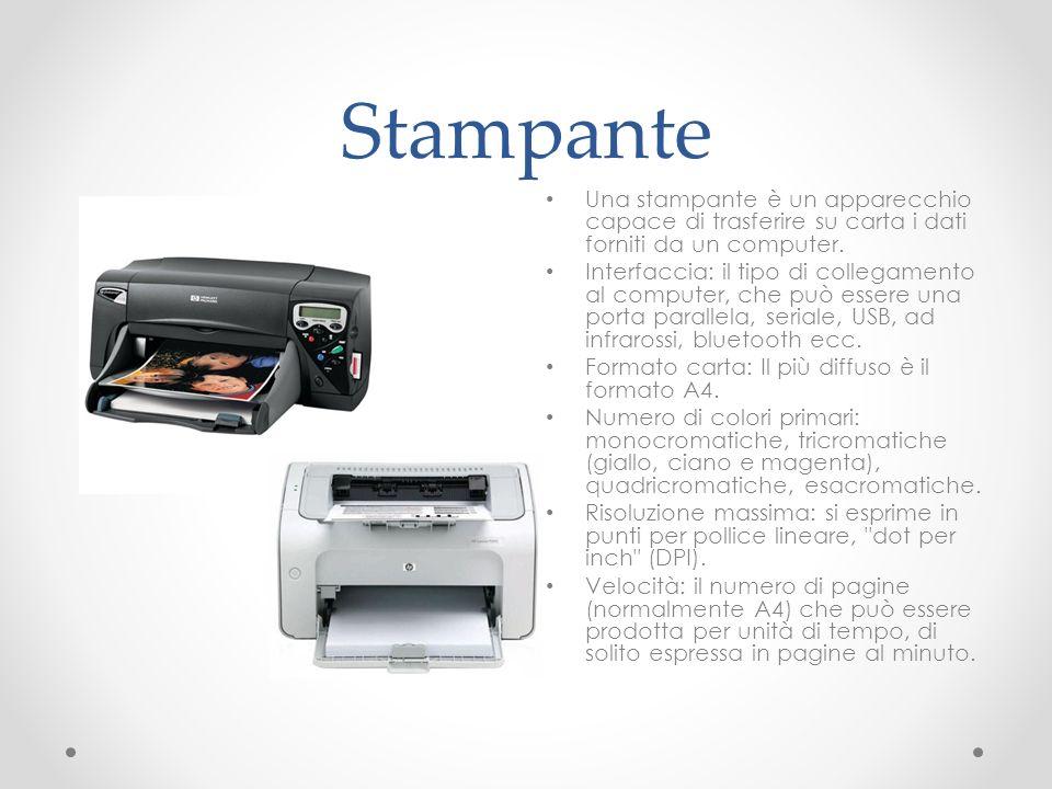 Stampante Una stampante è un apparecchio capace di trasferire su carta i dati forniti da un computer.