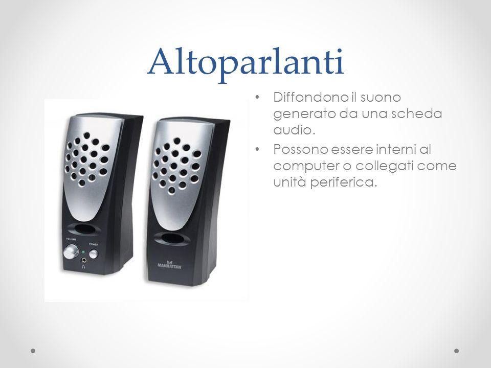 Altoparlanti Diffondono il suono generato da una scheda audio.
