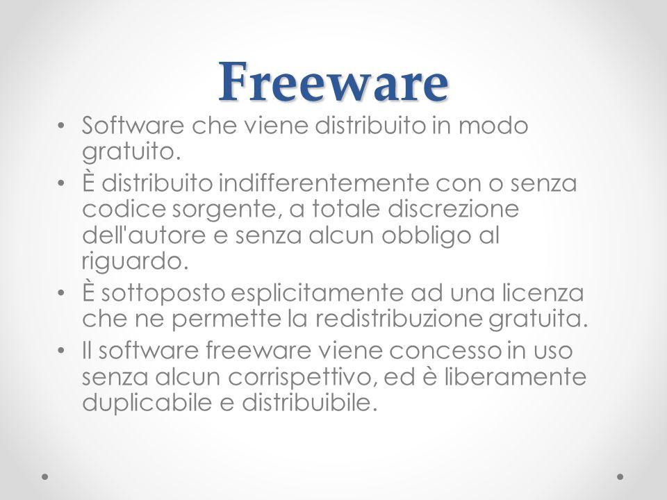 Freeware Software che viene distribuito in modo gratuito.
