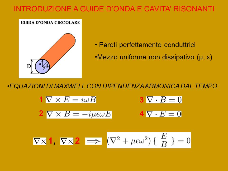 1, 2 INTRODUZIONE A GUIDE D'ONDA E CAVITA' RISONANTI 1 3 2 4