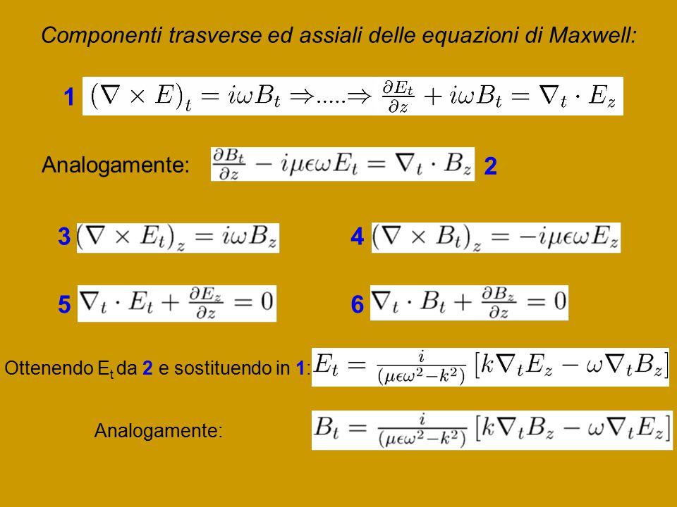 Componenti trasverse ed assiali delle equazioni di Maxwell: