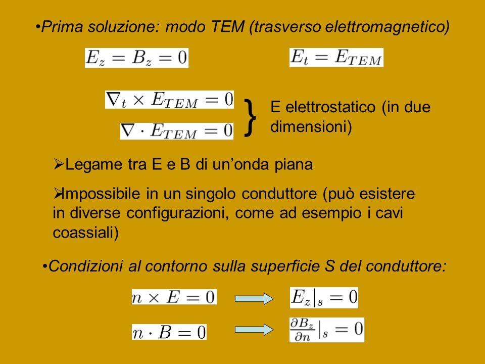 } Prima soluzione: modo TEM (trasverso elettromagnetico)