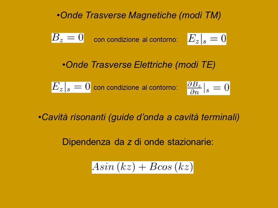 Onde Trasverse Magnetiche (modi TM)