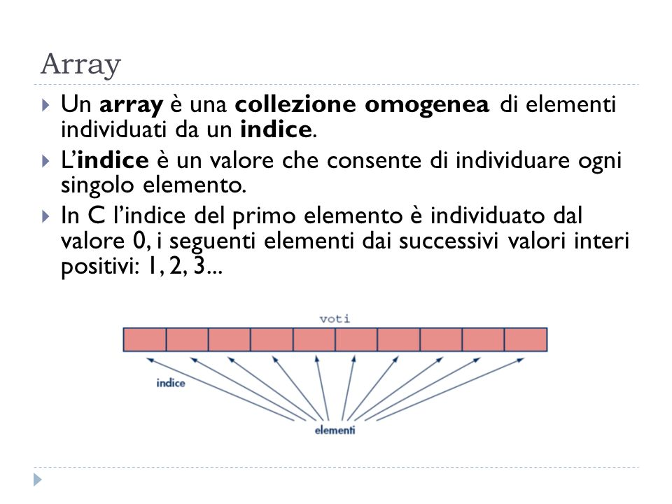Array Un array è una collezione omogenea di elementi individuati da un indice.