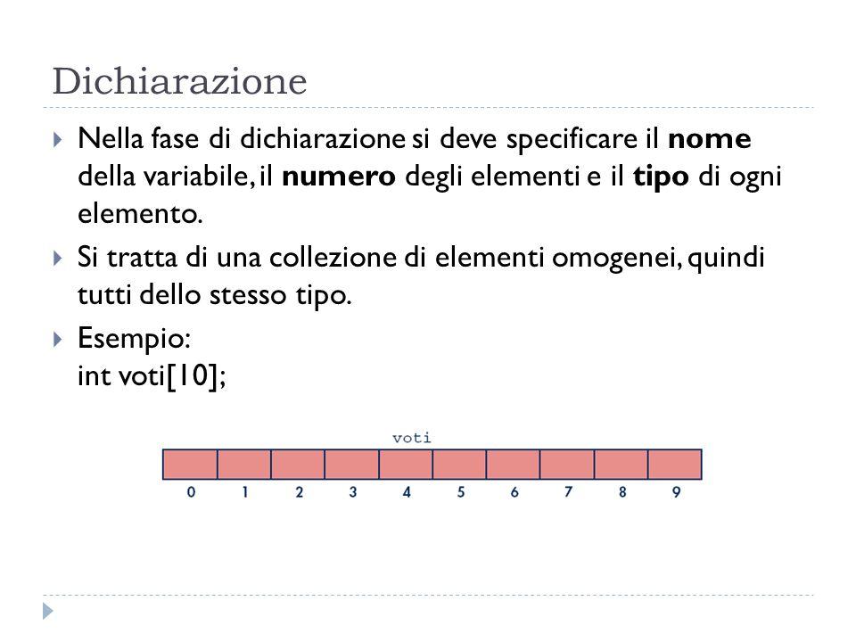 Dichiarazione Nella fase di dichiarazione si deve specificare il nome della variabile, il numero degli elementi e il tipo di ogni elemento.