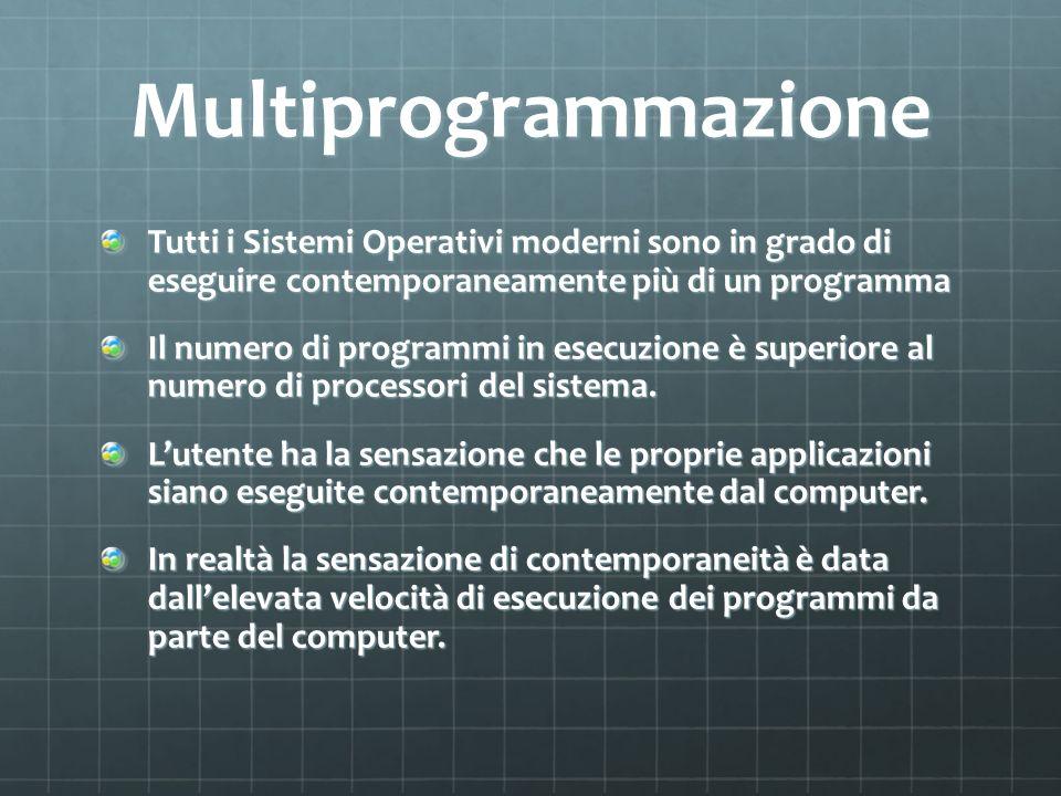 Multiprogrammazione Tutti i Sistemi Operativi moderni sono in grado di eseguire contemporaneamente più di un programma.