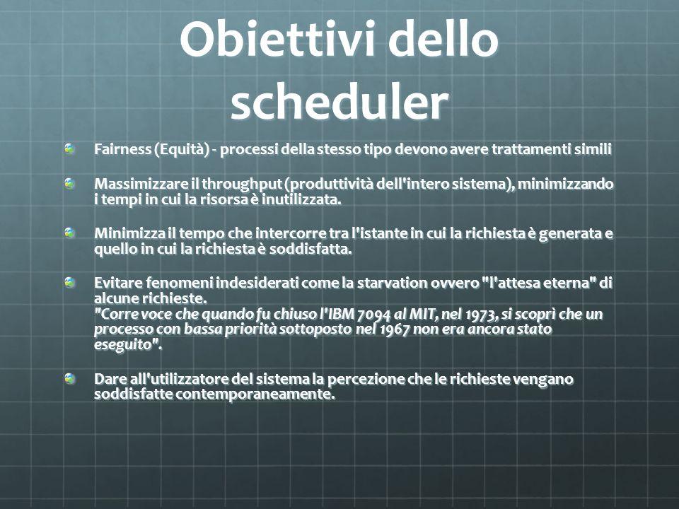 Obiettivi dello scheduler
