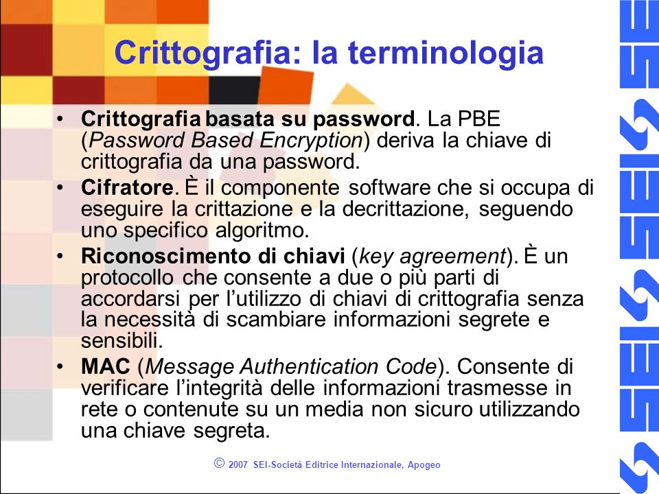 Crittografia: la terminologia