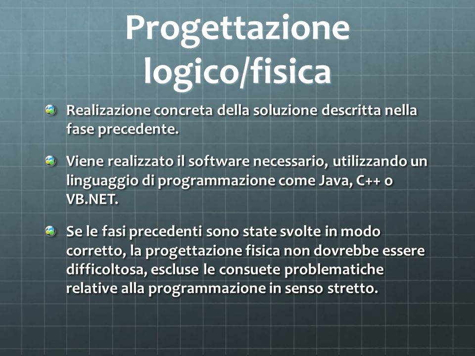 Progettazione logico/fisica