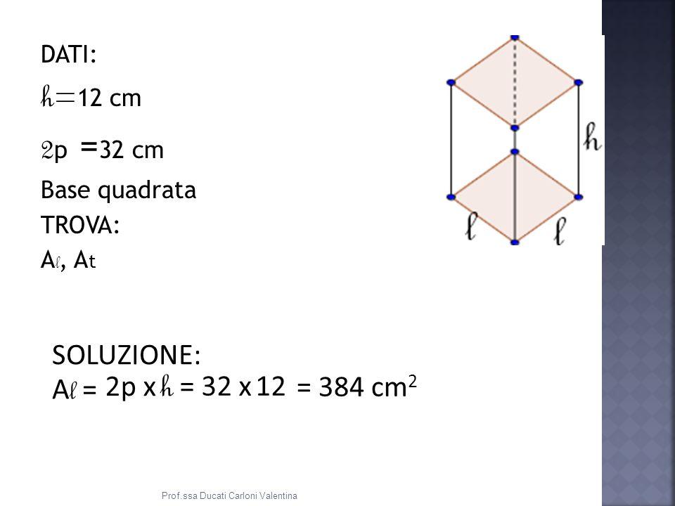 h=12 cm 2p =32 cm SOLUZIONE: Al = 2p x h = 32 x 12 = 384 cm2 DATI: