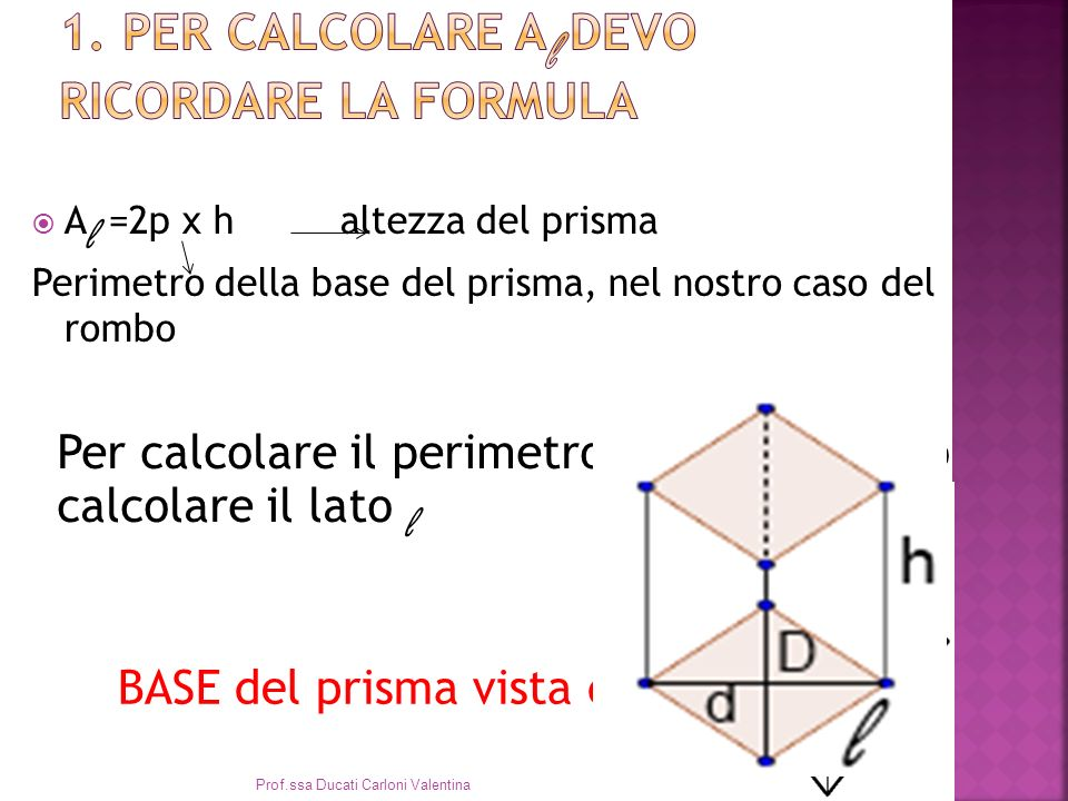 1. Per calcolare Al devo ricordare la formula
