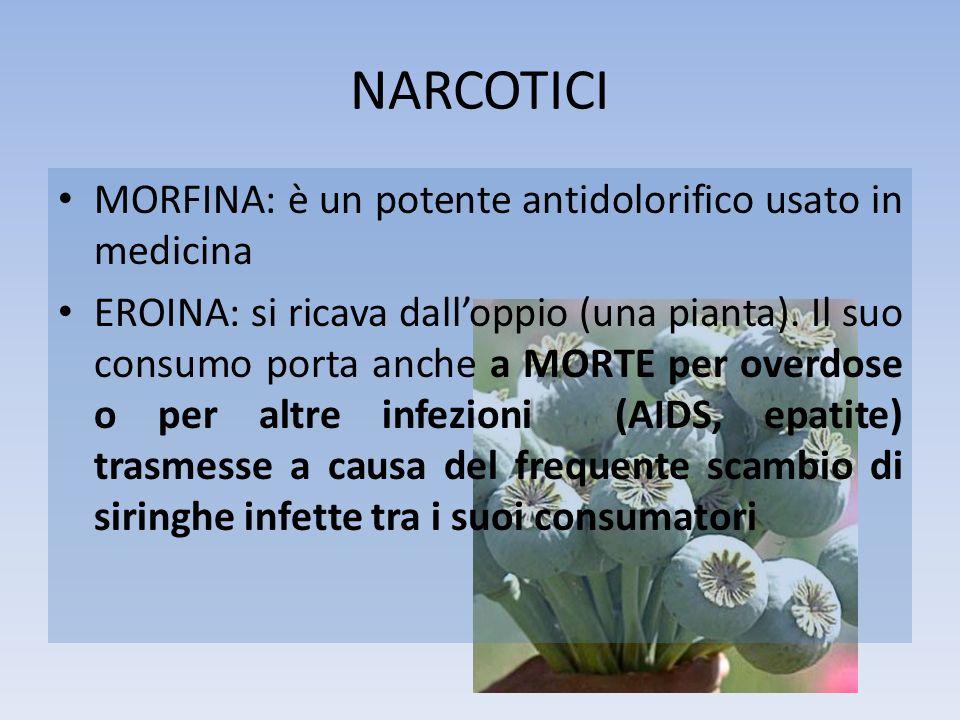 NARCOTICI MORFINA: è un potente antidolorifico usato in medicina