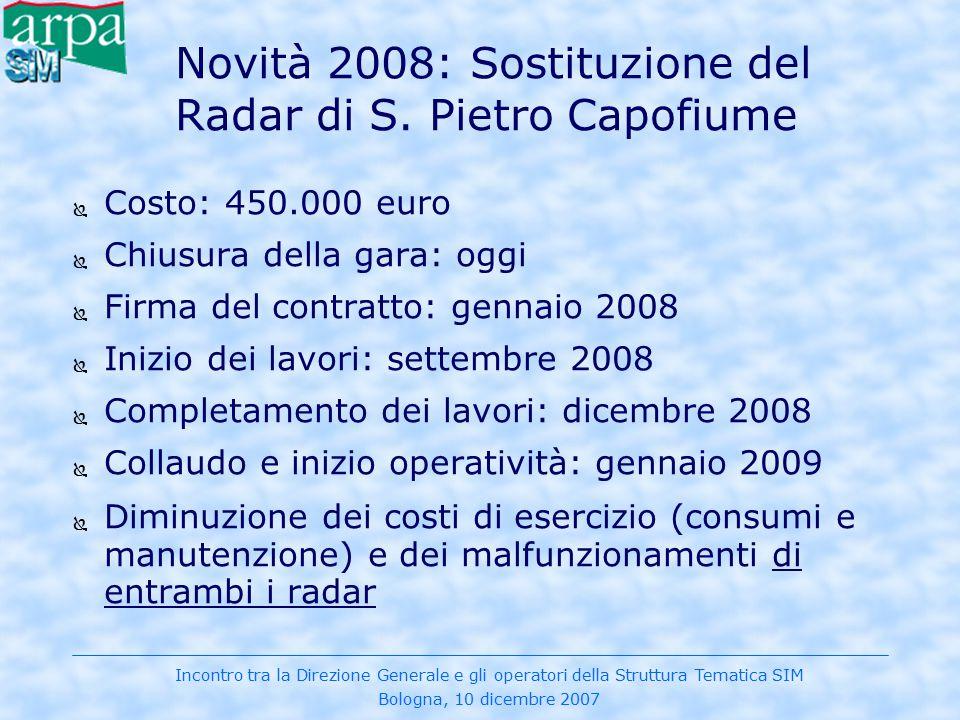 Novità 2008: Sostituzione del Radar di S. Pietro Capofiume