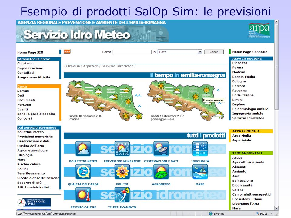 Esempio di prodotti SalOp Sim: le previsioni