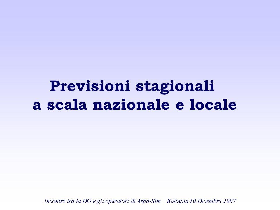 Previsioni stagionali a scala nazionale e locale