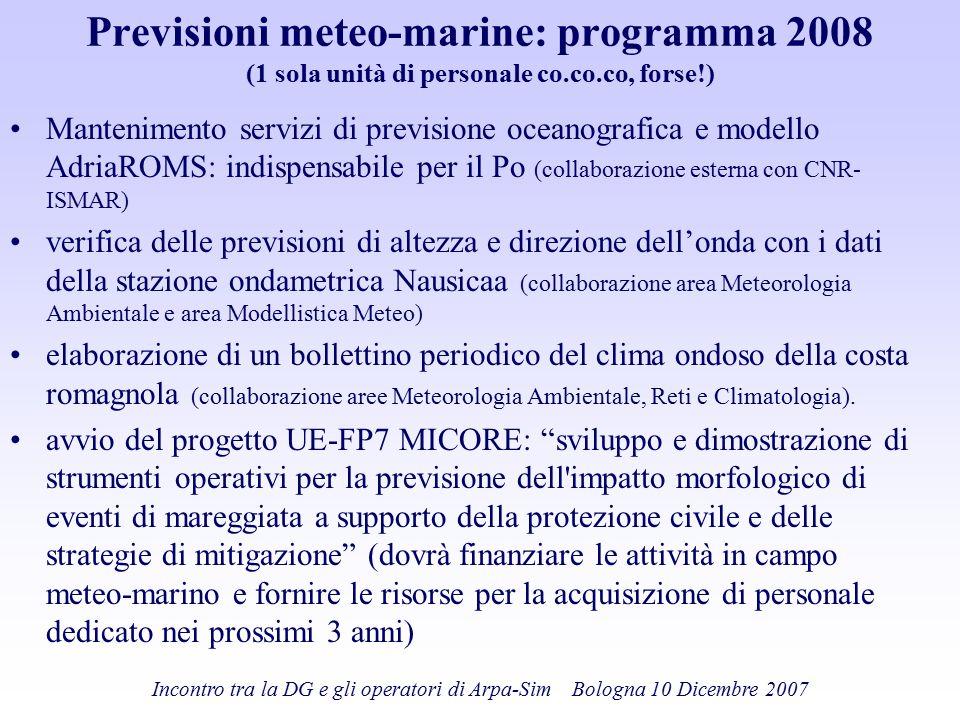 Previsioni meteo-marine: programma 2008 (1 sola unità di personale co