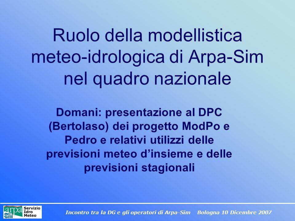 Ruolo della modellistica meteo-idrologica di Arpa-Sim nel quadro nazionale