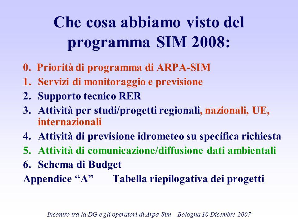 Che cosa abbiamo visto del programma SIM 2008: