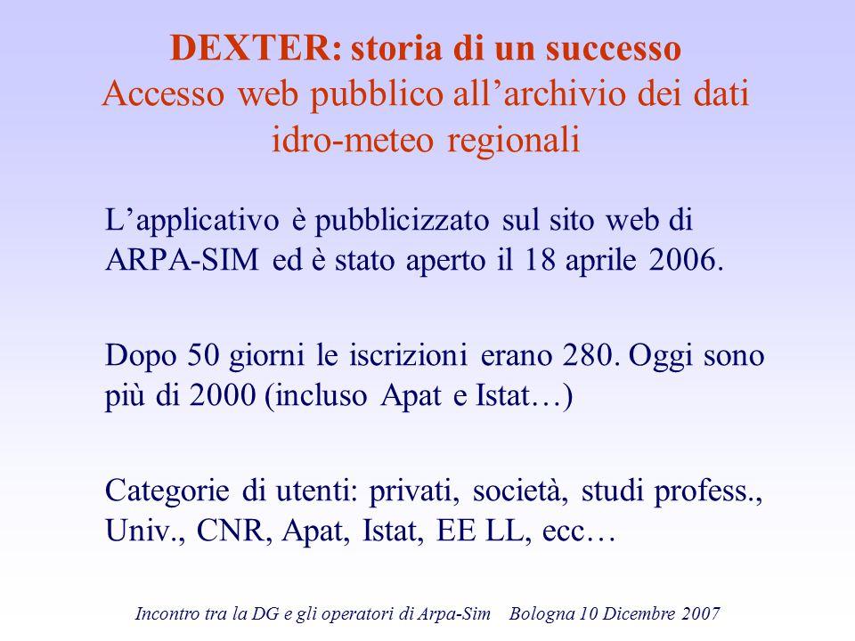 DEXTER: storia di un successo Accesso web pubblico all'archivio dei dati idro-meteo regionali